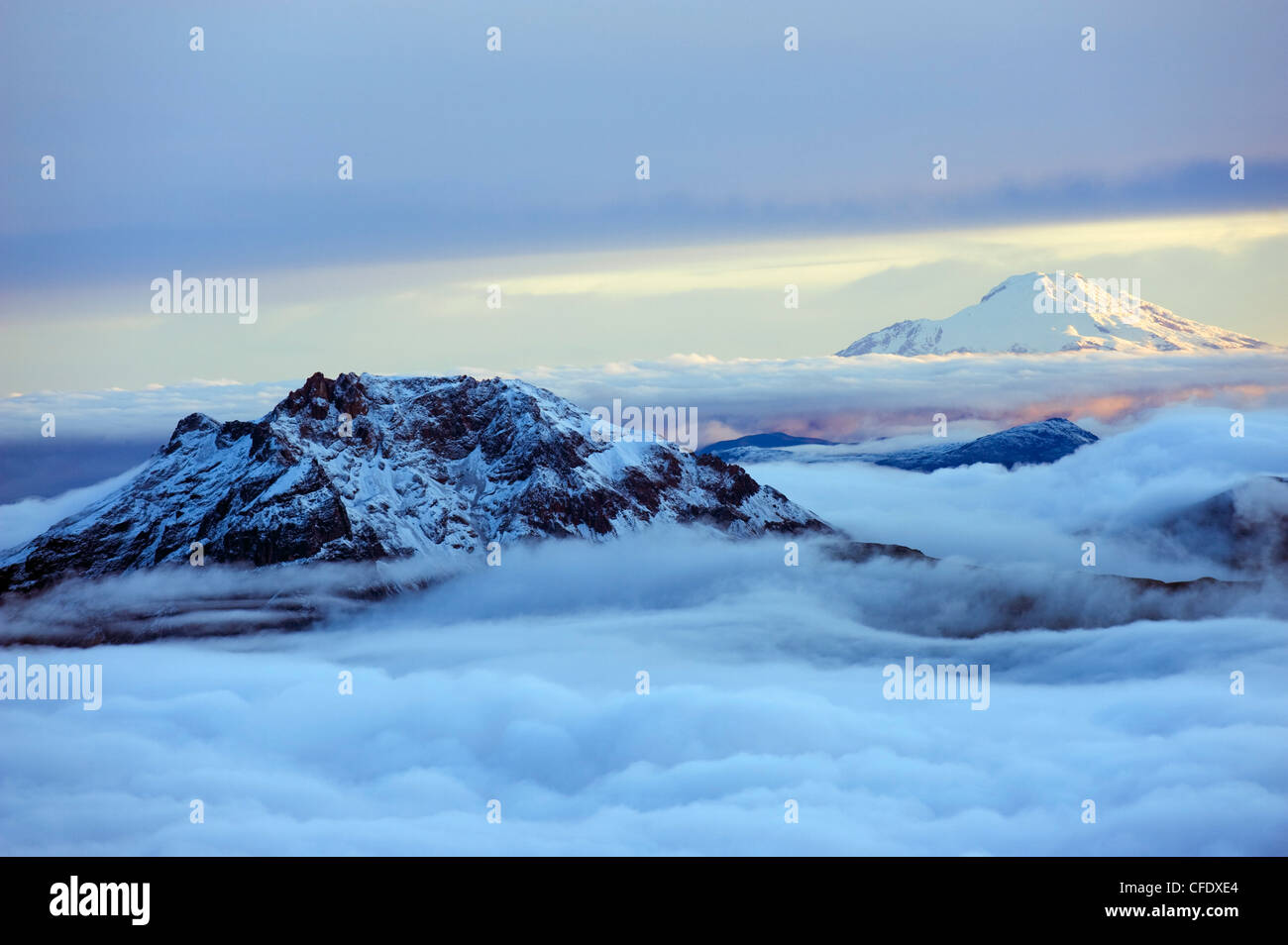View from Volcan Cotopaxi, 5897m, the highest active volcano in the world, Ecuador, South America - Stock Image