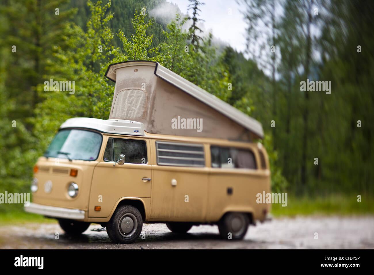 VW Camper Van, White River, British Columbia, Canada Stock