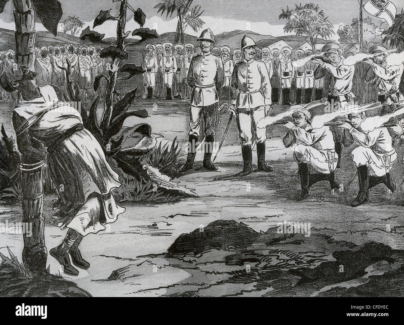 GERMAN EAST AFRICA German marines execute the leader of a local uprising about 1890 - Stock Image