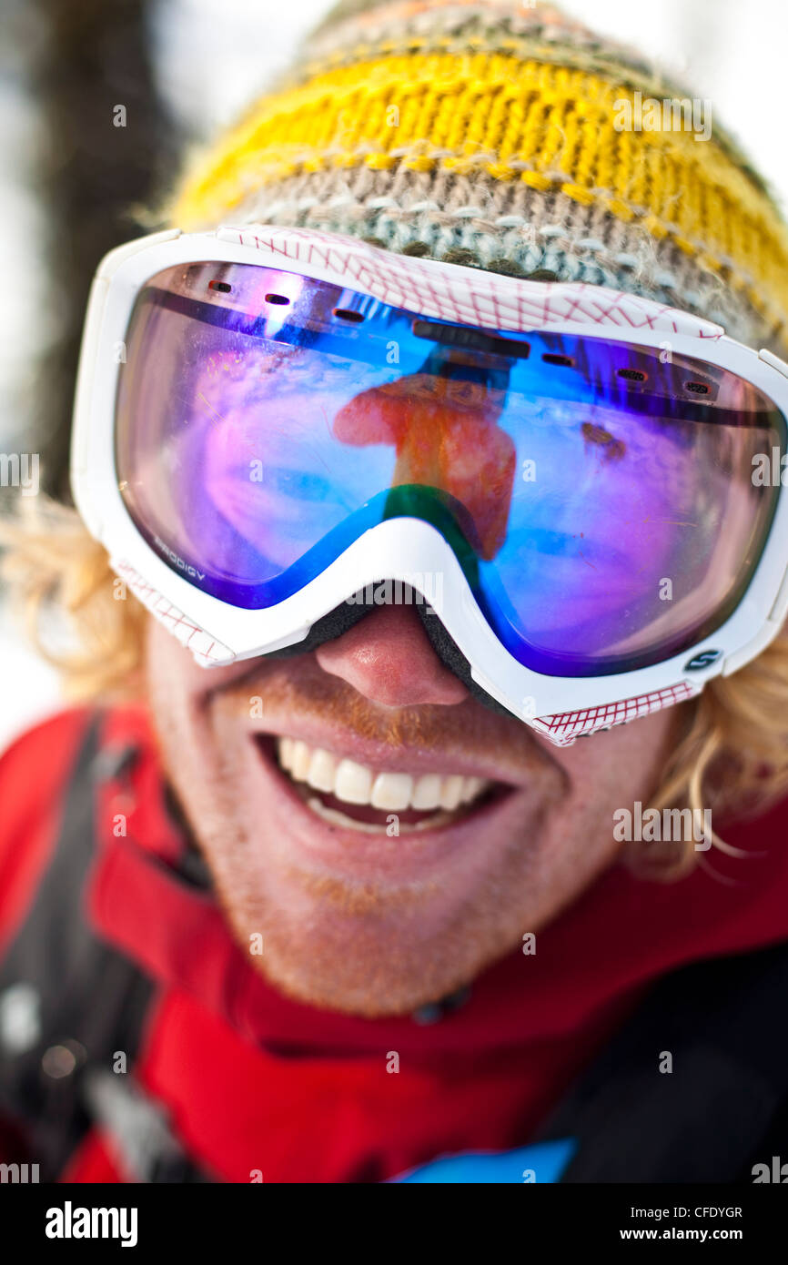 A happy skier after a great day backcountry skiing. Monashee mountains, British Columbia, Canada - Stock Image
