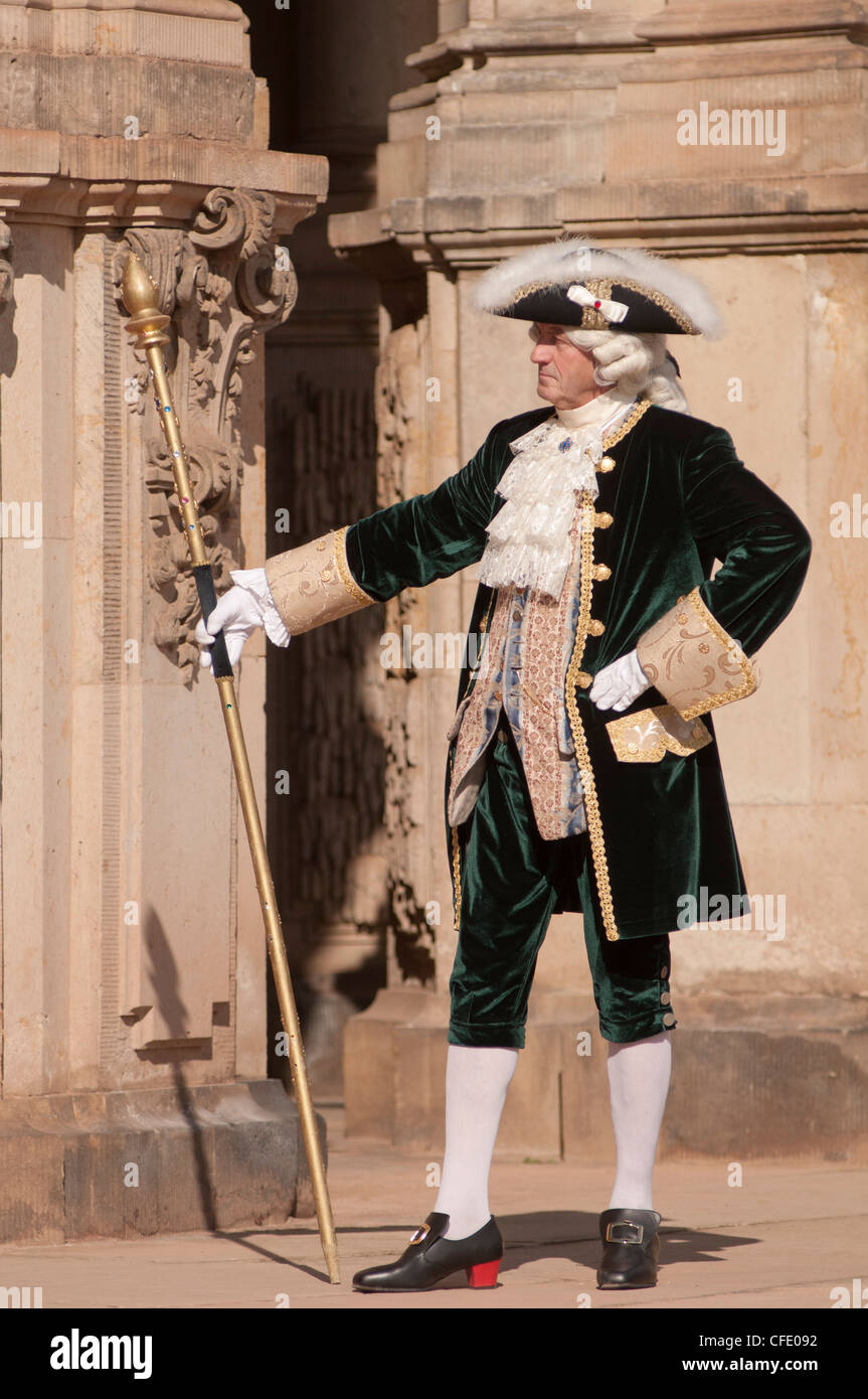 Costumed re-enactor at the Zwinger, Dresden, Saxony, Germany, Europe Stock Photo