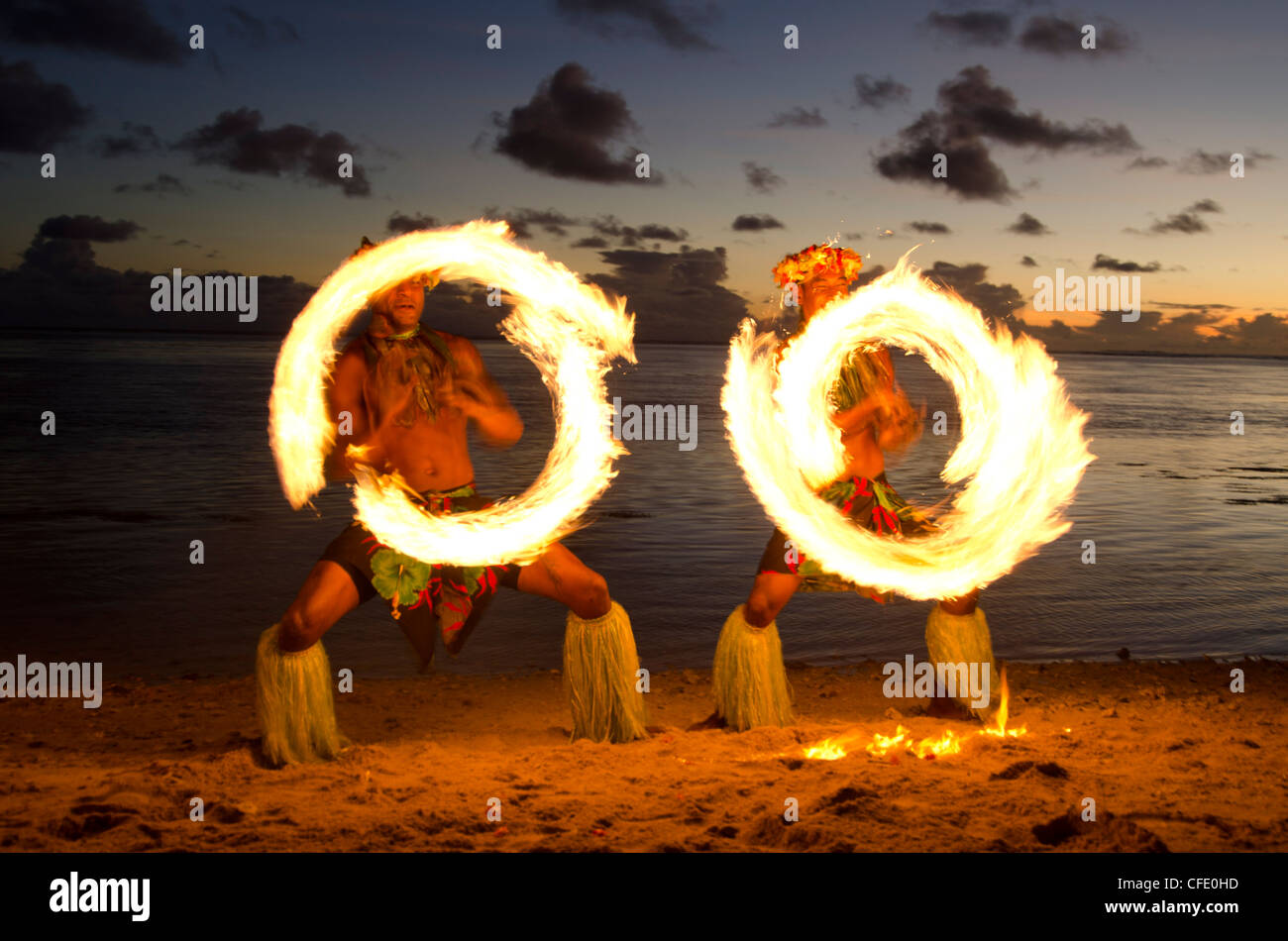 Fire Dance, Viti Levu, Fiji, Melanesia, Oceania, Pacific Islands, Pacific - Stock Image