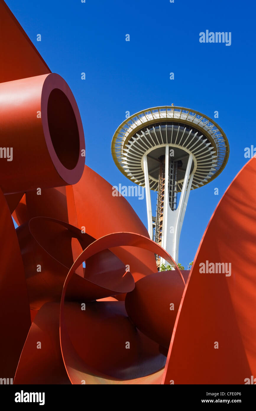 Olympic Iliad sculpture by Alexander Liberman and Space Needle, Seattle Center, Seattle, Washington State, USA Stock Photo