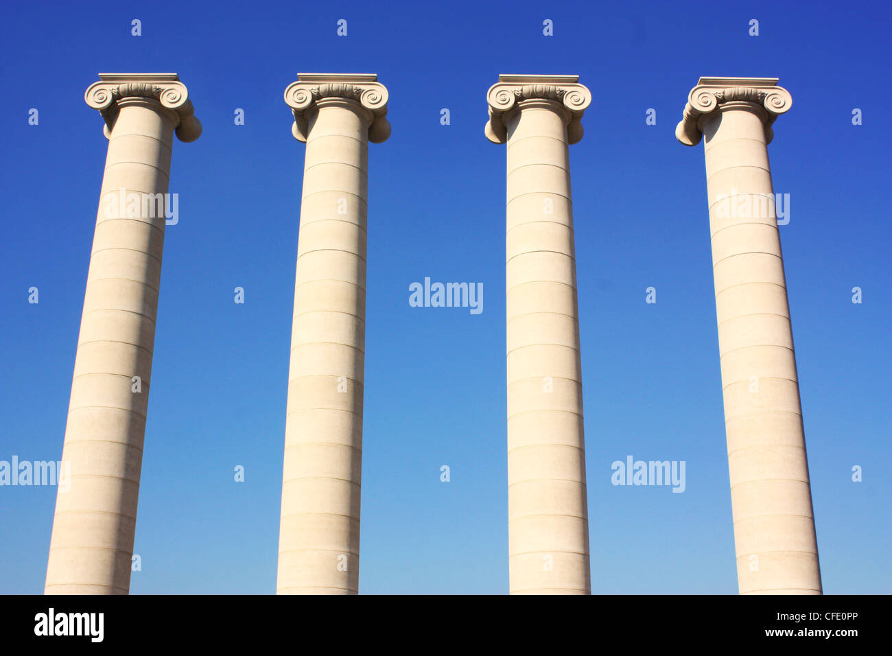 Four pillars in front of National Art Museum in Barcelona , Spain - Stock Image