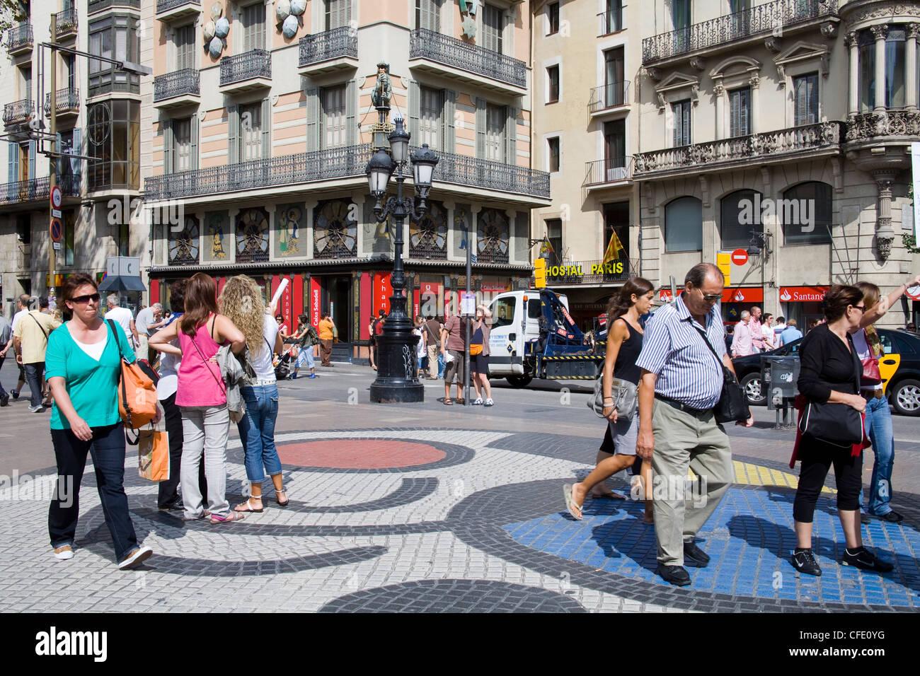 Tile Mosaic by Joan Miro on Las Ramblas, Barcelona, Catalonia, Spain, Europe - Stock Image