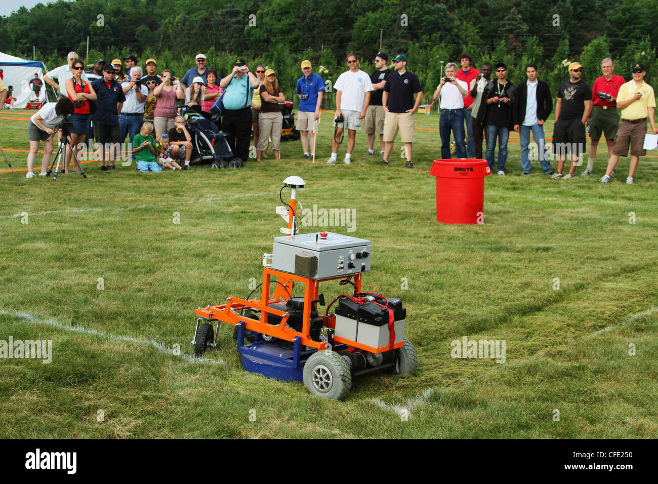 Experimental Robotic Lawn Mower by the team from University of Florida. - Stock Image