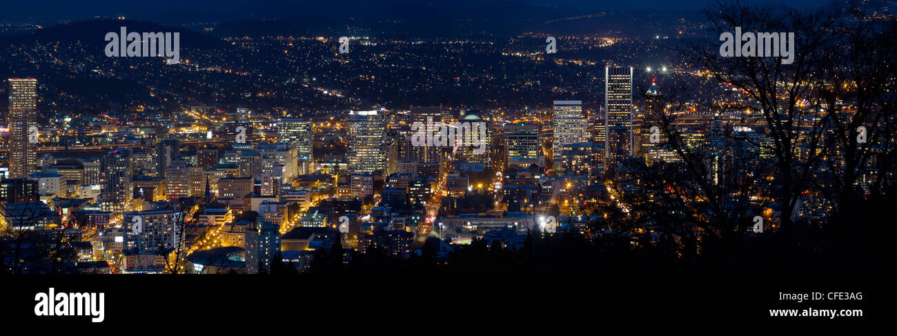 Portland Oregon Downtown Cityscape at Blue Hour Twilight Panorama Stock Photo