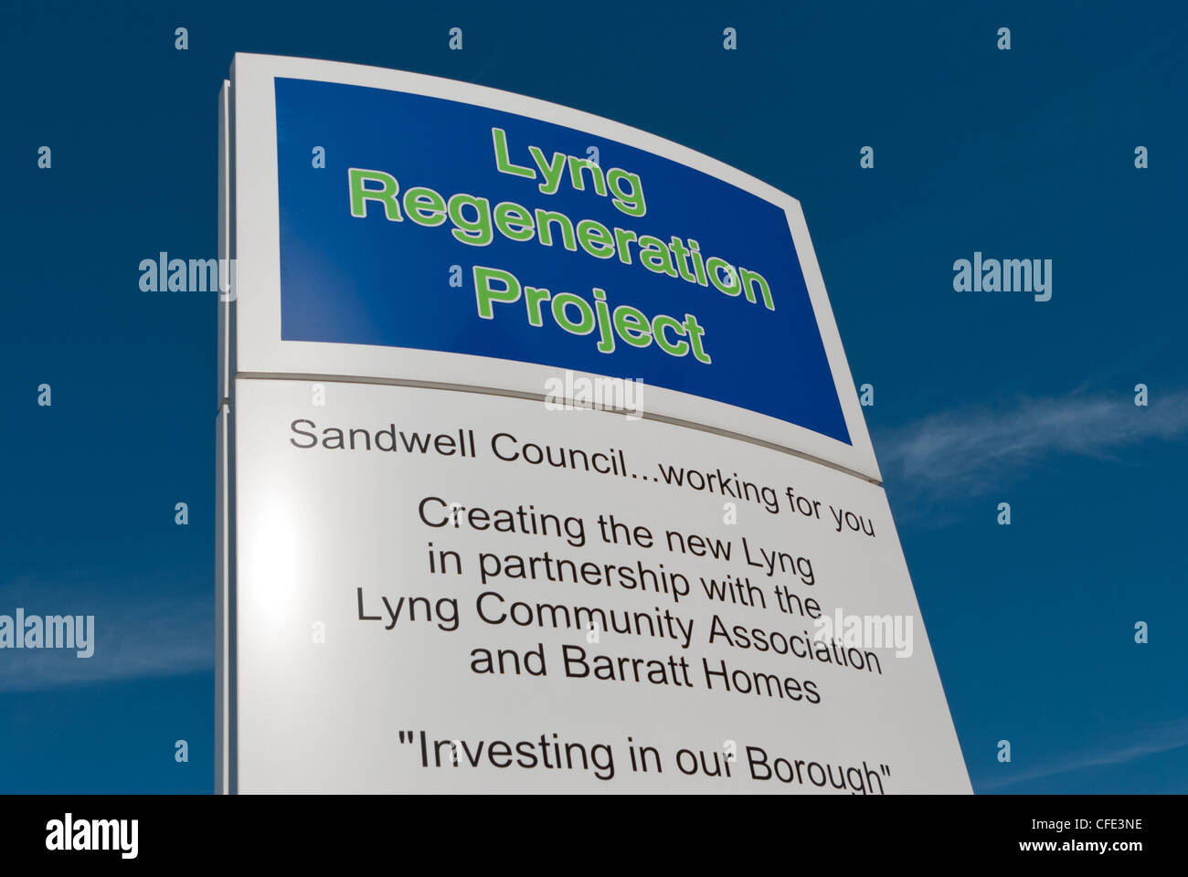 Signpost for Lyng Regeneration Project in West Bromwich, Sandwell and Dudley, West Midlands, UK - Stock Image