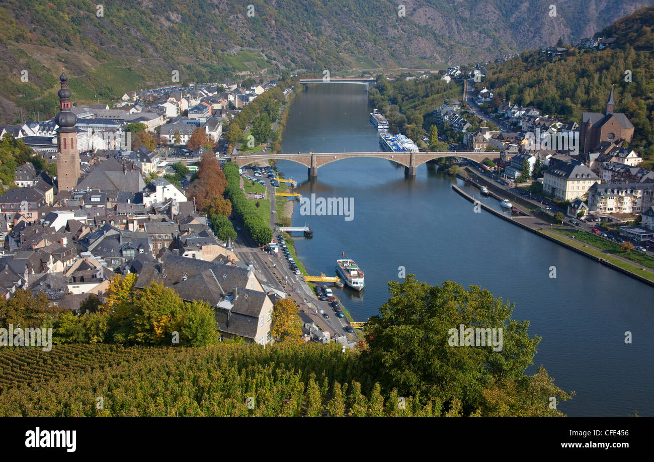 View from castle on town and Moselle river, Cochem, Rhineland-Palatinate, Germany, Europe - Stock Image