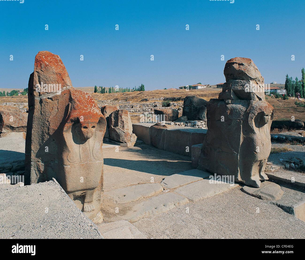 Sphinx Gate of ancient city Hattusas of Hittites Turkey - Stock Image