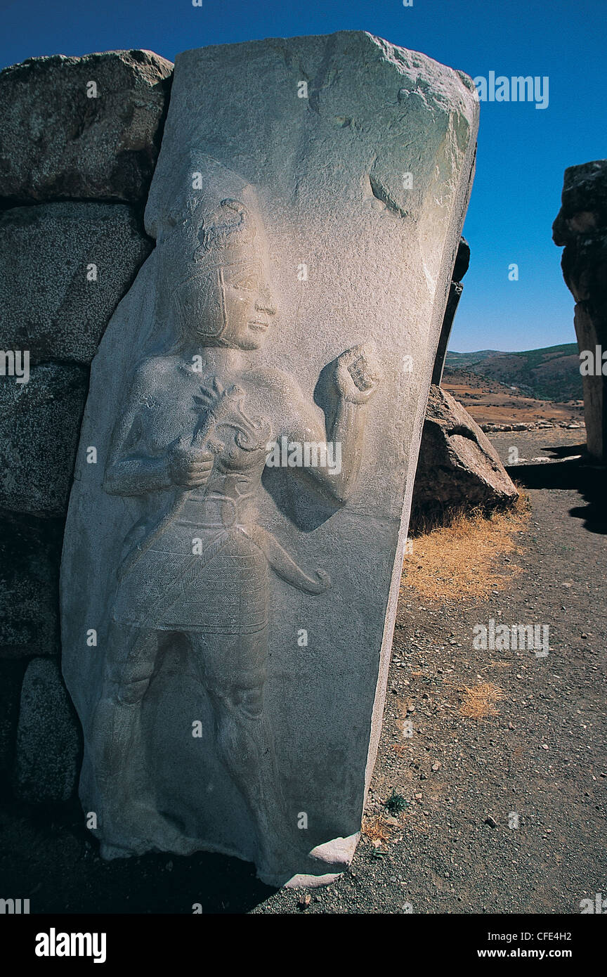 Hittites city gate with relief of god Sharumma , Hattusas Turkey - Stock Image