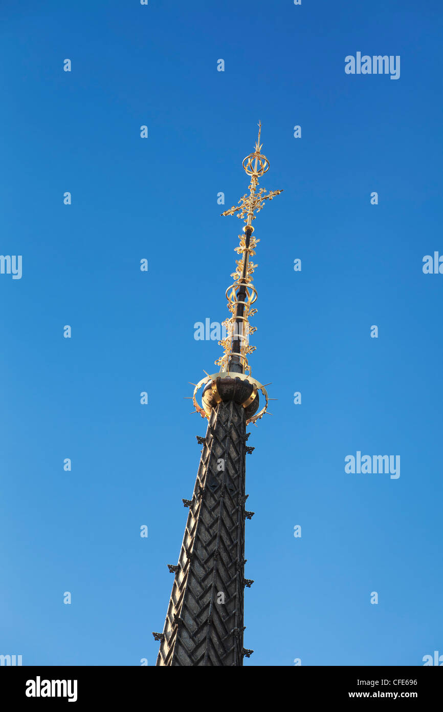 Spire on top of the Royal Courts of Justice, London,UK - Stock Image