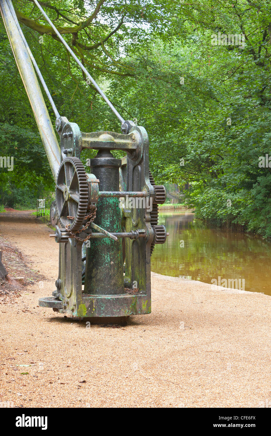 Lifting gear alongside the Duke of Bridgewater Canal in Worsley, England - Stock Image