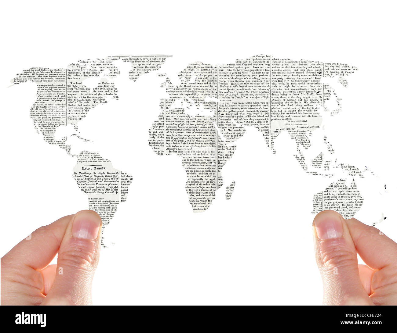 Hands show a newspaper world map stock photo 43953452 alamy hands show a newspaper world map gumiabroncs Image collections