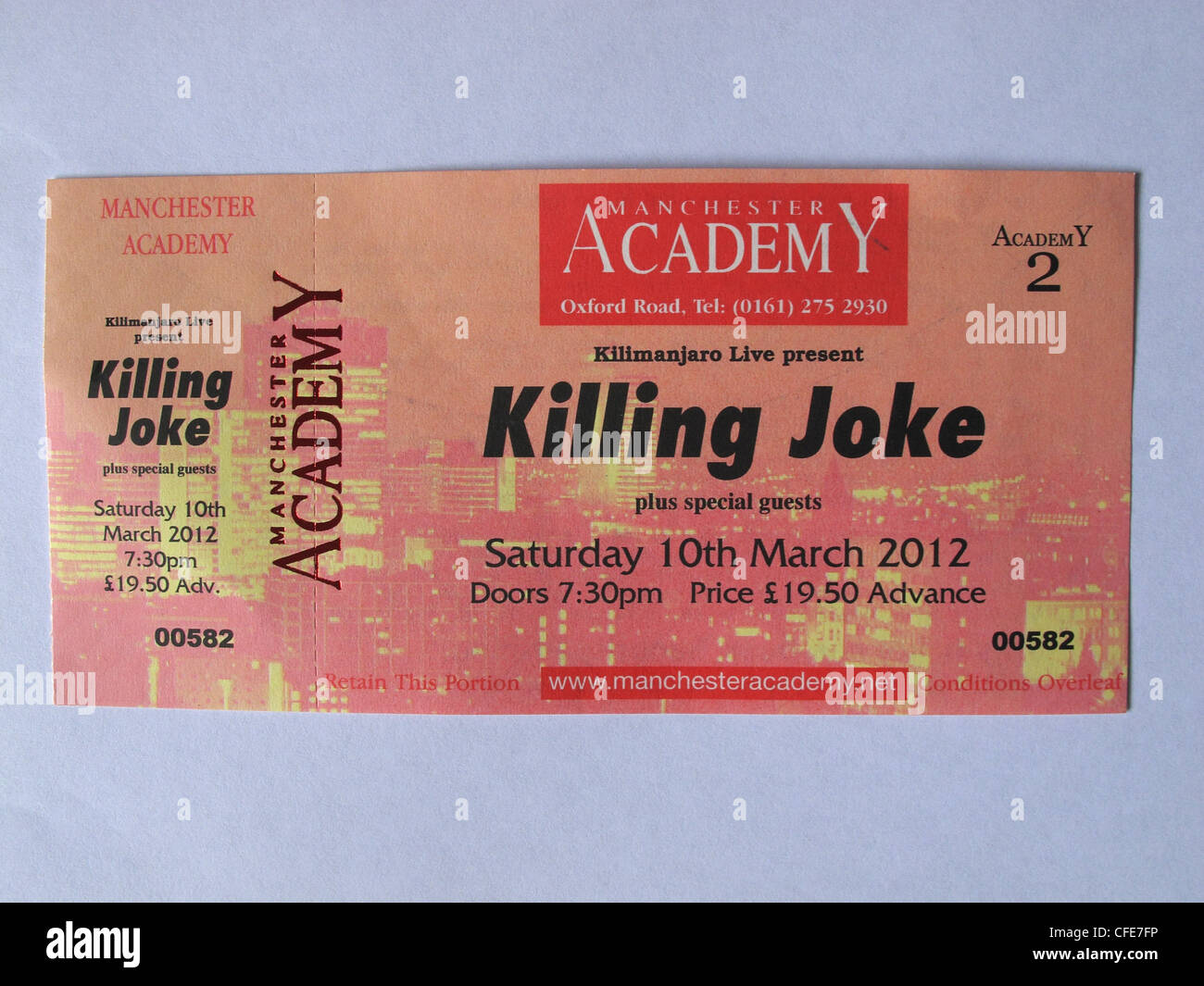 Killing Joke concert ticket for Manchester Academy 10th March 2012 held in an hand - Stock Image