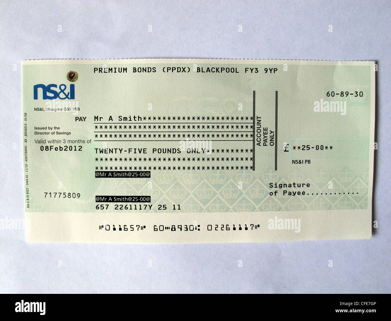 Lucky winning NS&I premium bond cheque - Stock Image