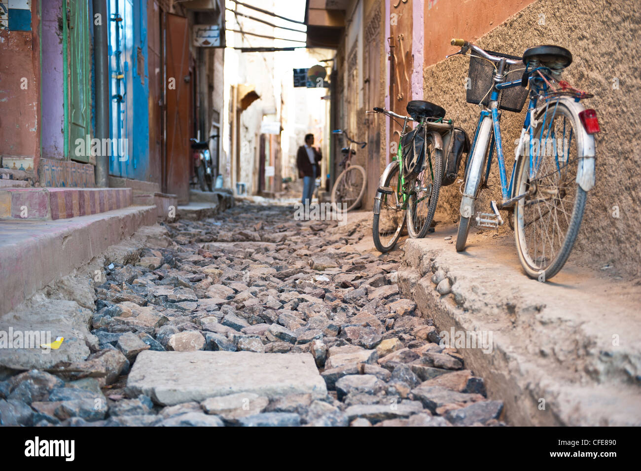 Street in bad condition, Rissani, Morocco - Stock Image
