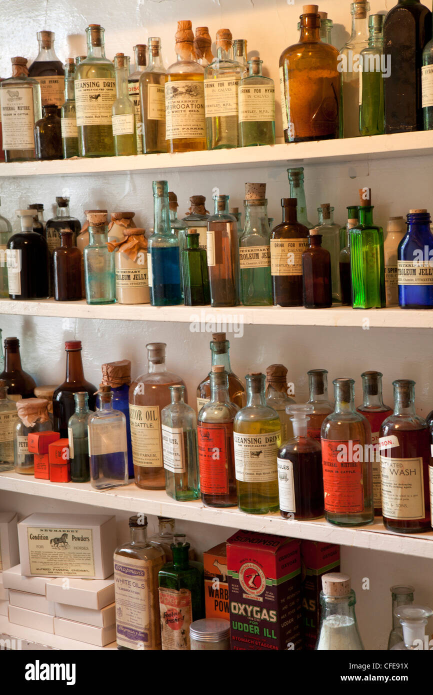 UK, England, Yorkshire, Thirsk, Kirkgate, James Herriot's surgery, bottles of medicines in the dispensary - Stock Image