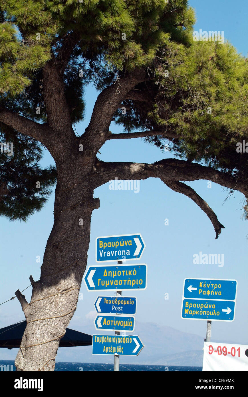 GREECE Athens East Coast  Loutsa Bay  road sign in Greek and Latin script - Stock Image