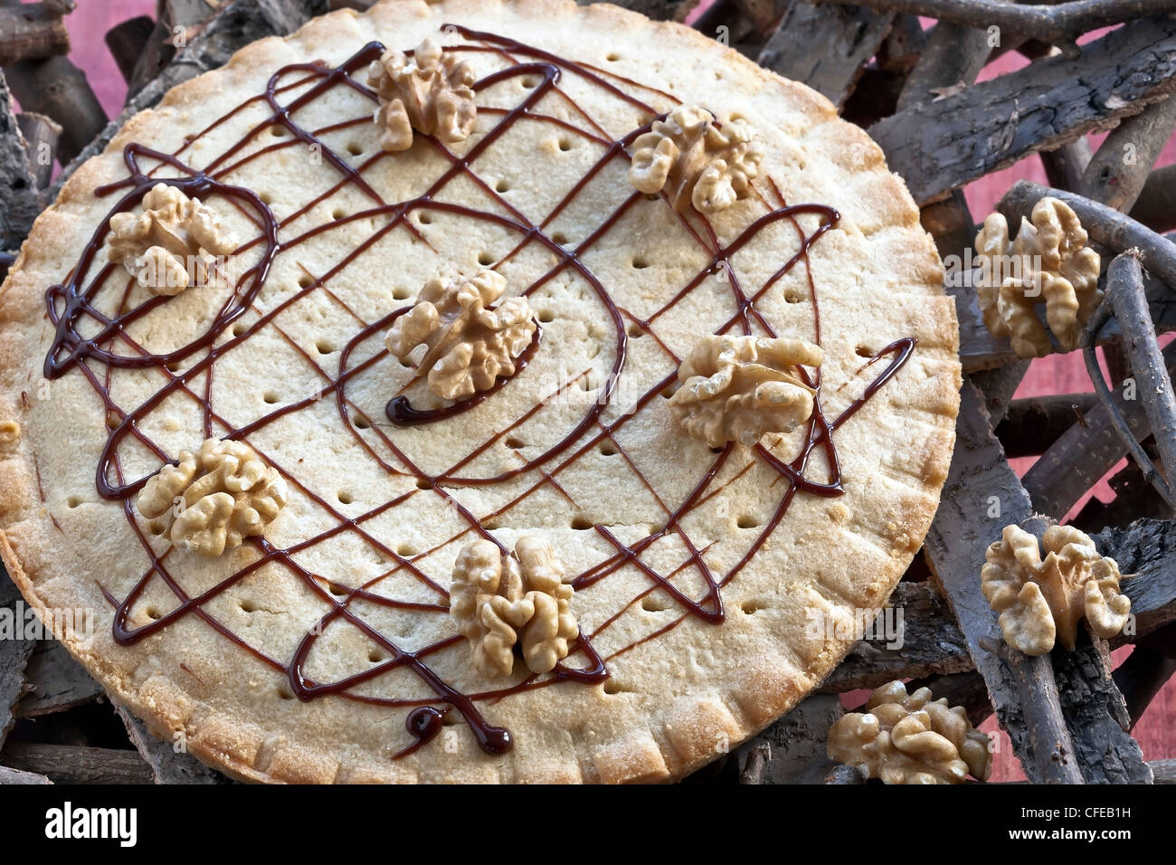 Engadine nut tart - pastry with caramel and walnuts - Stock Image