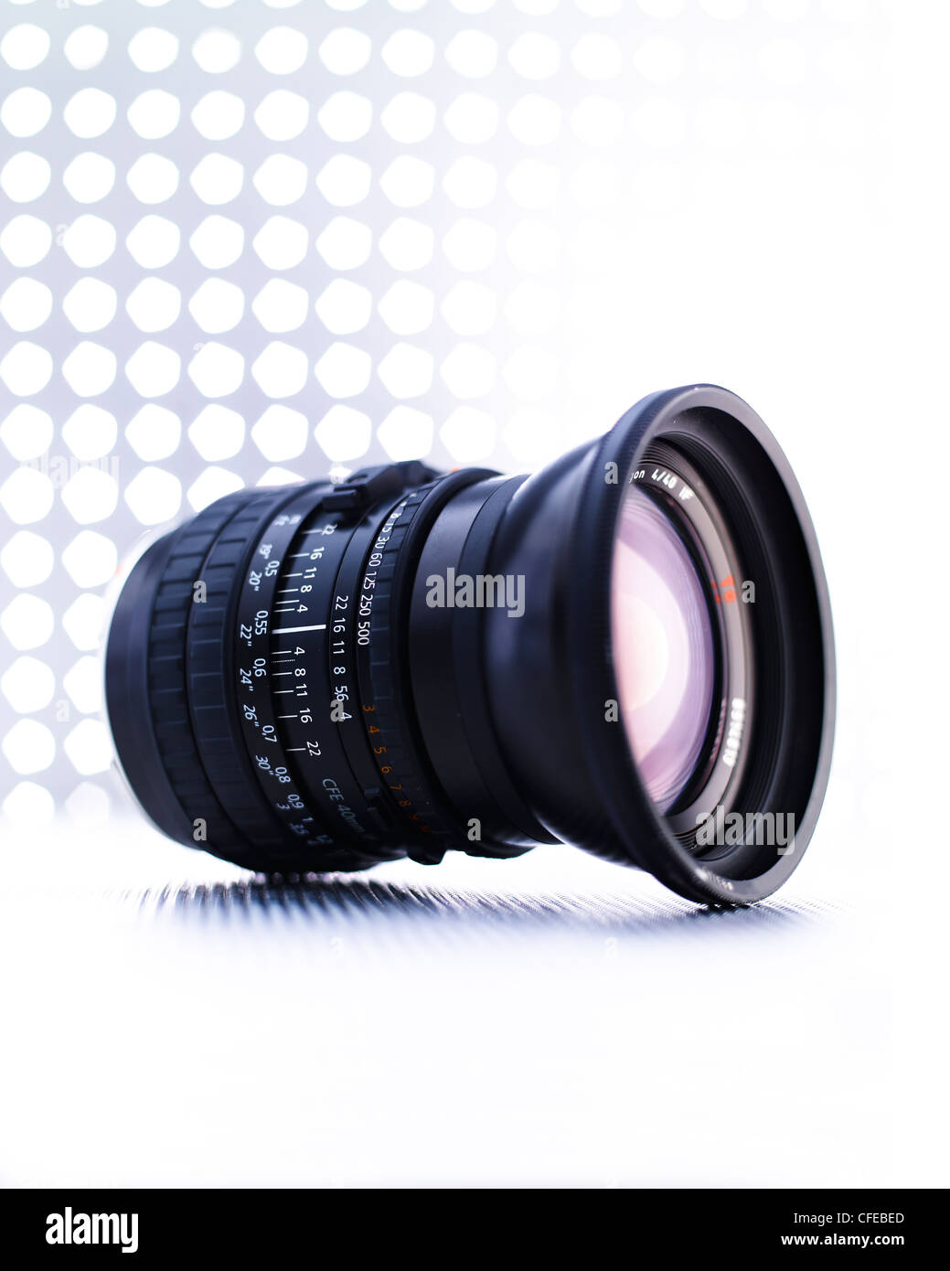 Medium format wide angle camera lens - Stock Image