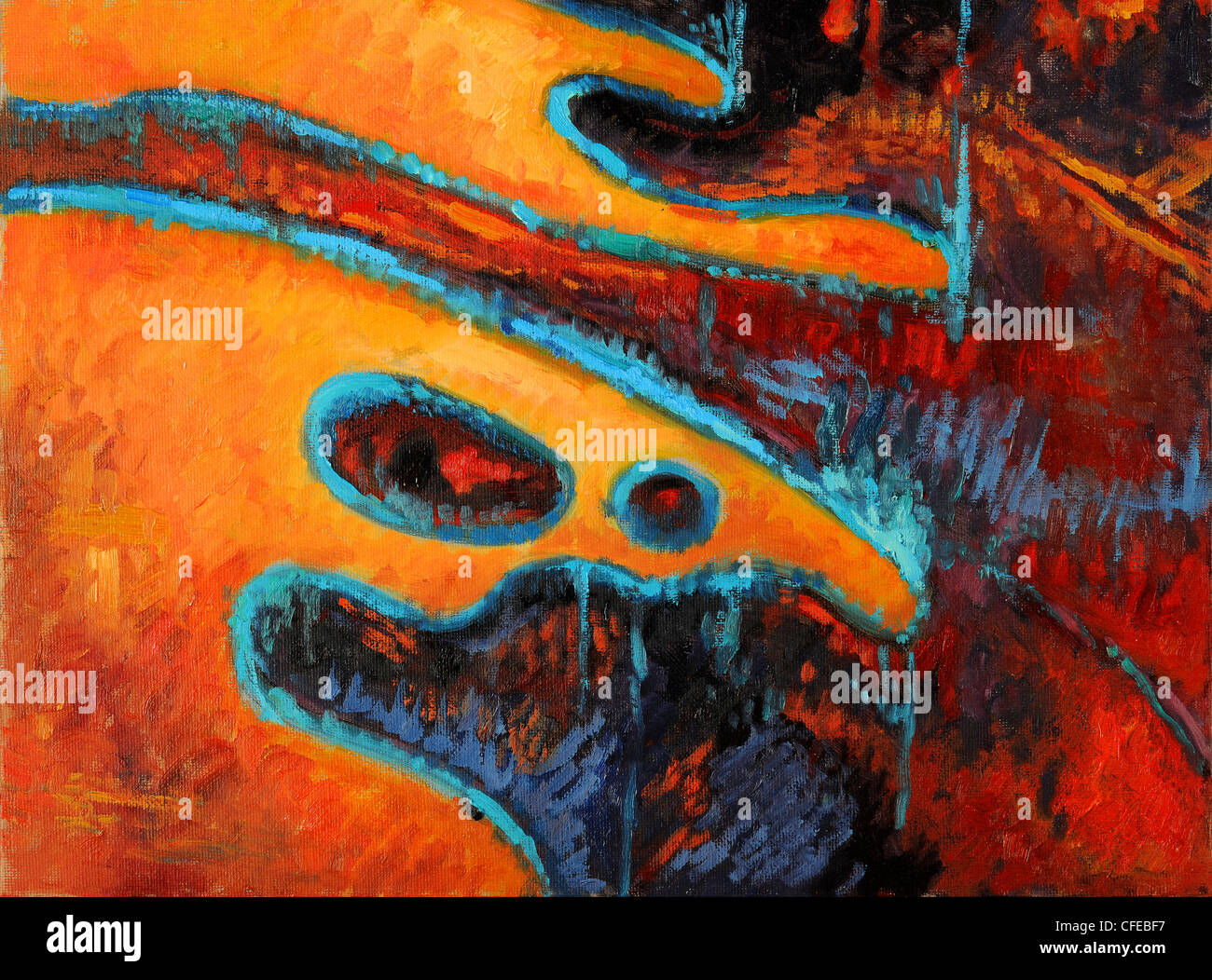 Abstract oil painting in warm colors with blue accents - Stock Image