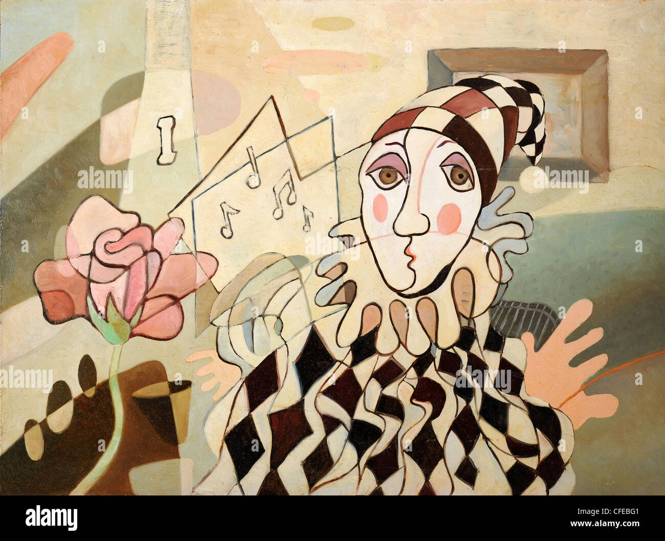 Abstract oil painting of harlequin and rose - Stock Image