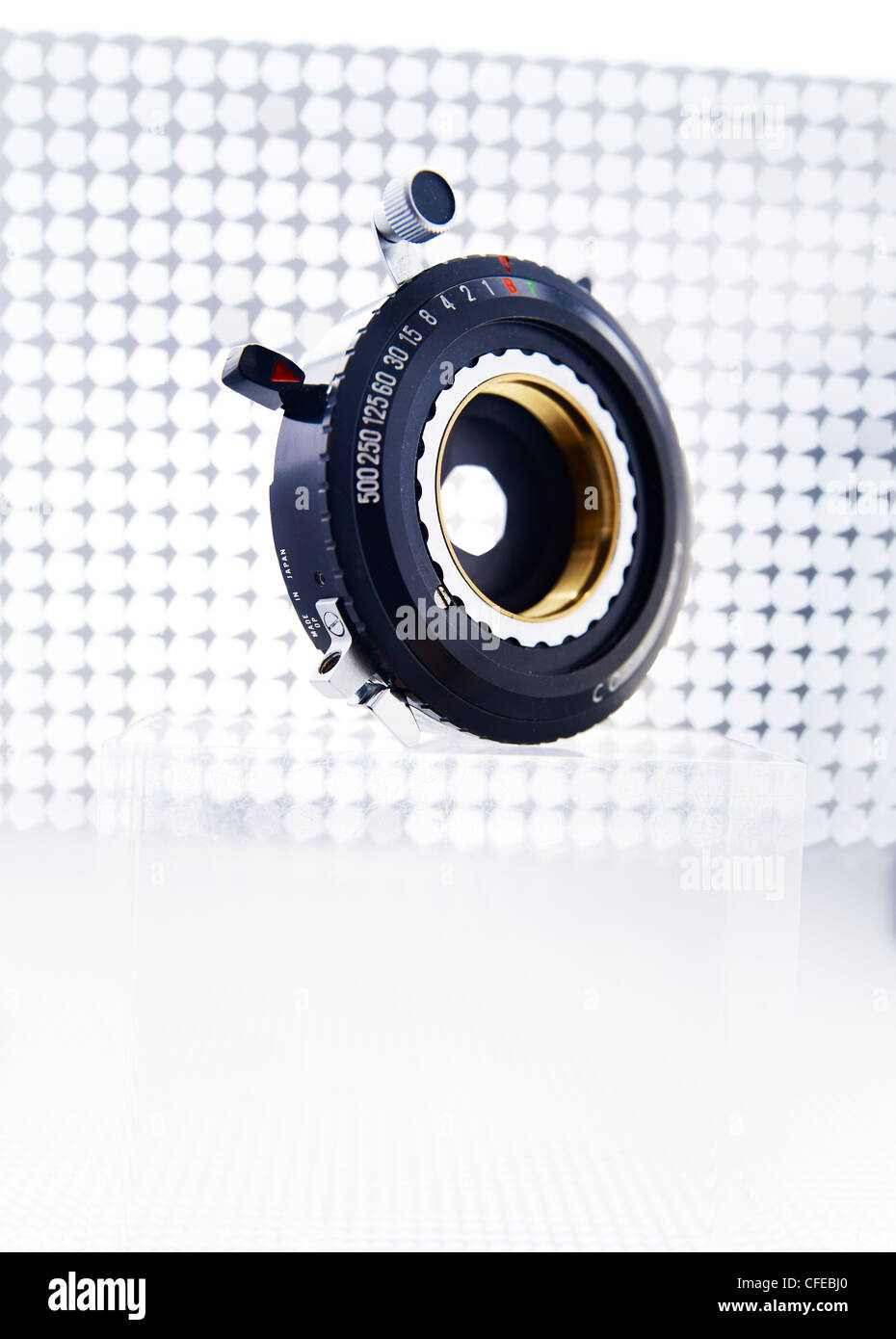 Large format lens shutter no camera - Stock Image