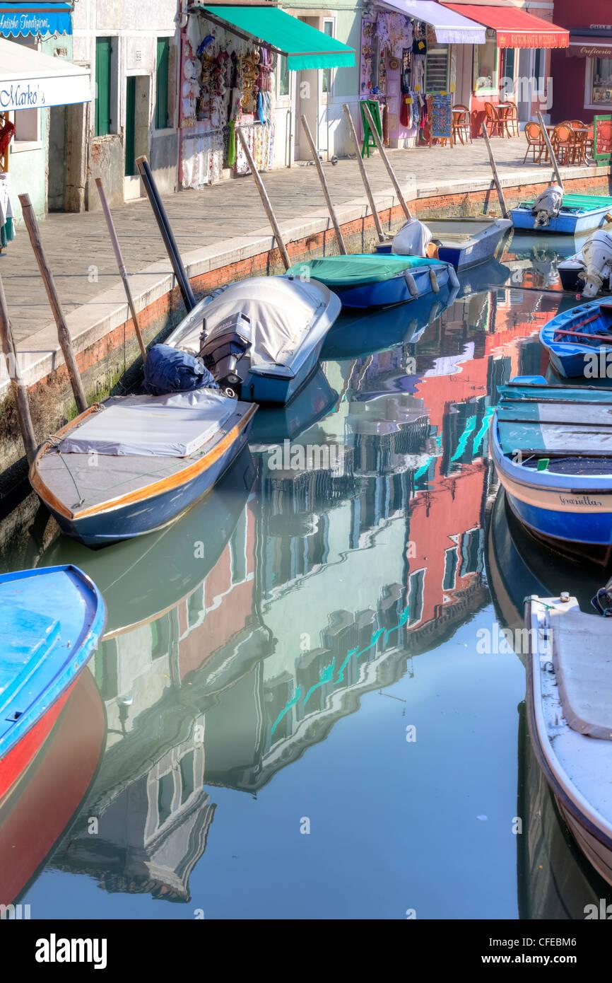 Shops in Burano, Venice, Veneto, Italy - Stock Image