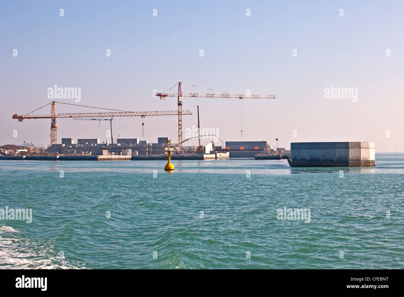 Construction site, lagoon of Venice, MO.SE, Modulo Sperimentale Elettromeccanico, water dam, Italy Stock Photo