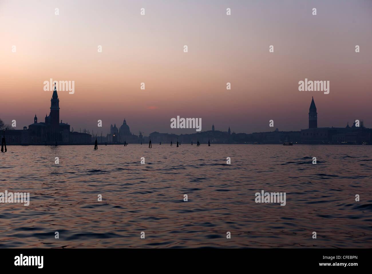 Venice, Bacino di San Marco, Sunset, Veneto, Italy - Stock Image