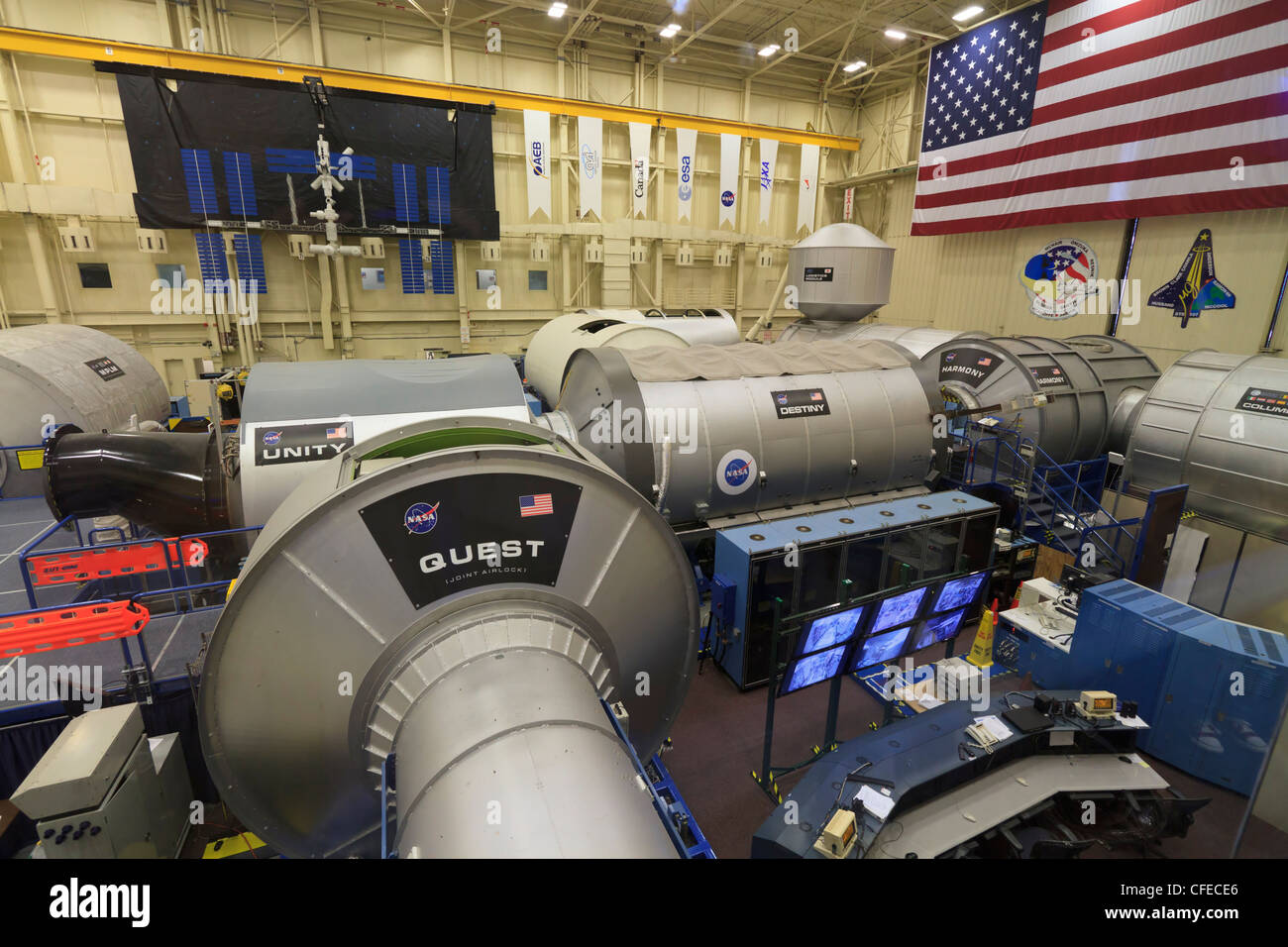 Full scale replica of the International Space Station at the Space Vehicle Mockup Facility, Johnson Space Center, - Stock Image