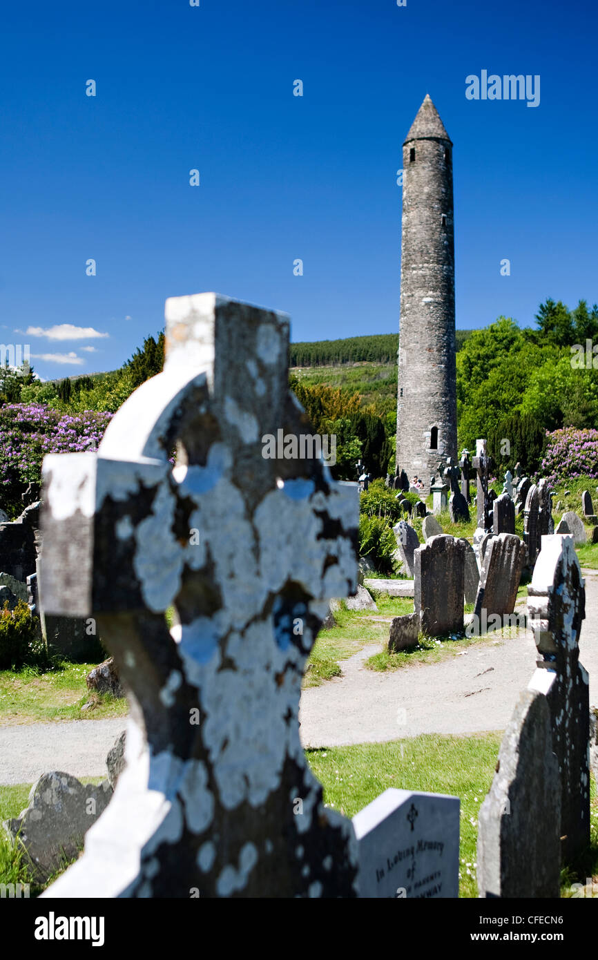 Round tower, Glendalough, Wicklow, Leinster, Ireland - Stock Image
