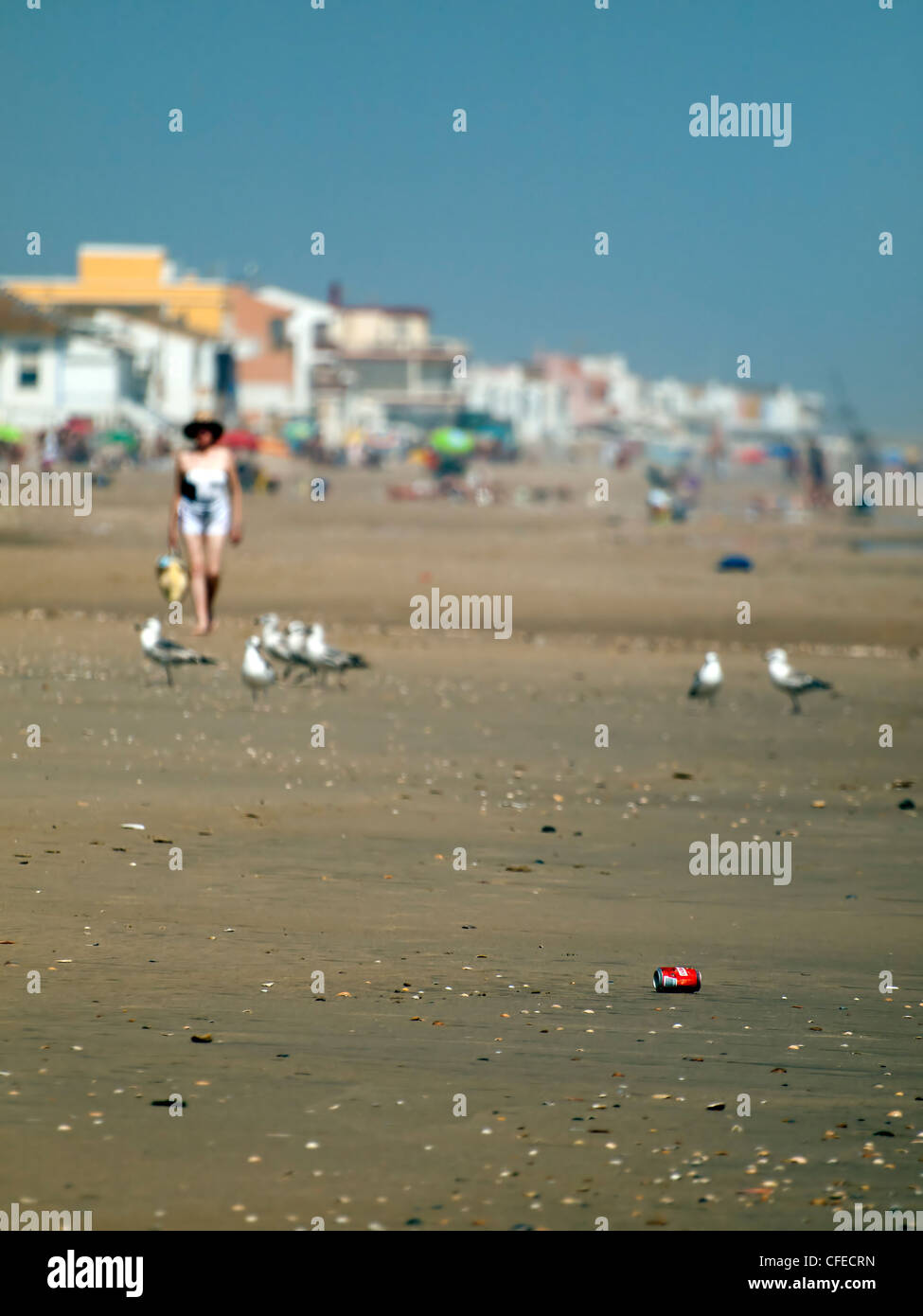 some rubbish in the beach - Stock Image