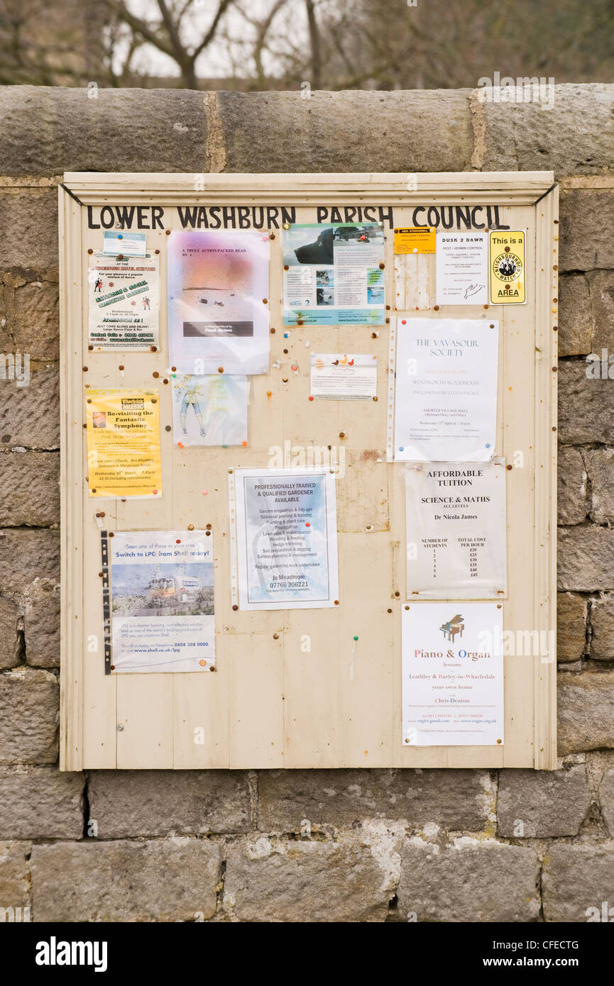 Parish council notice board. - Stock Image