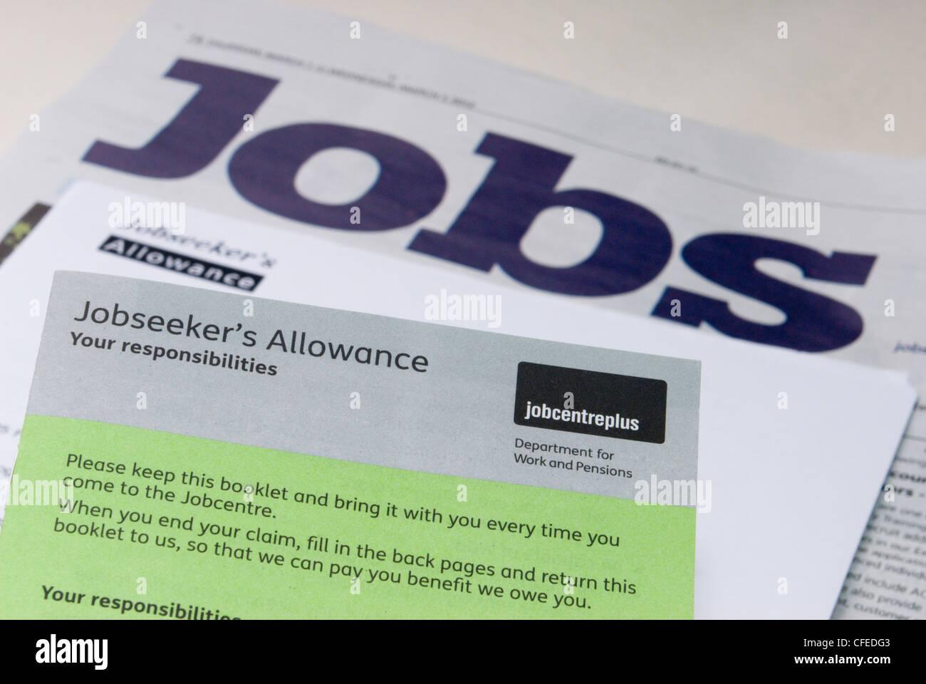 Jobseekers Allowance Agreement Looking Work Stock Photos