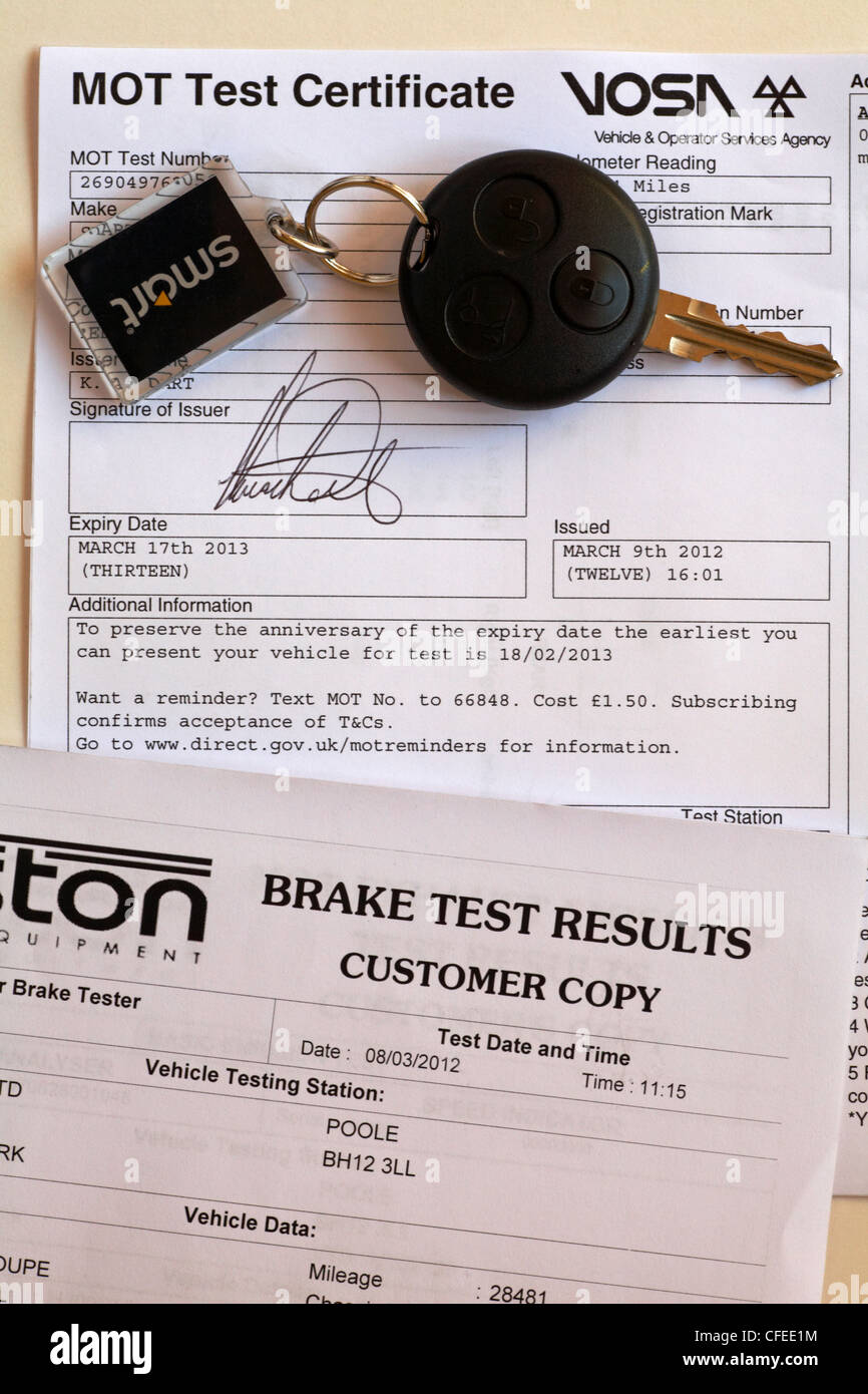 MOT Test Certificate - new style - Stock Image