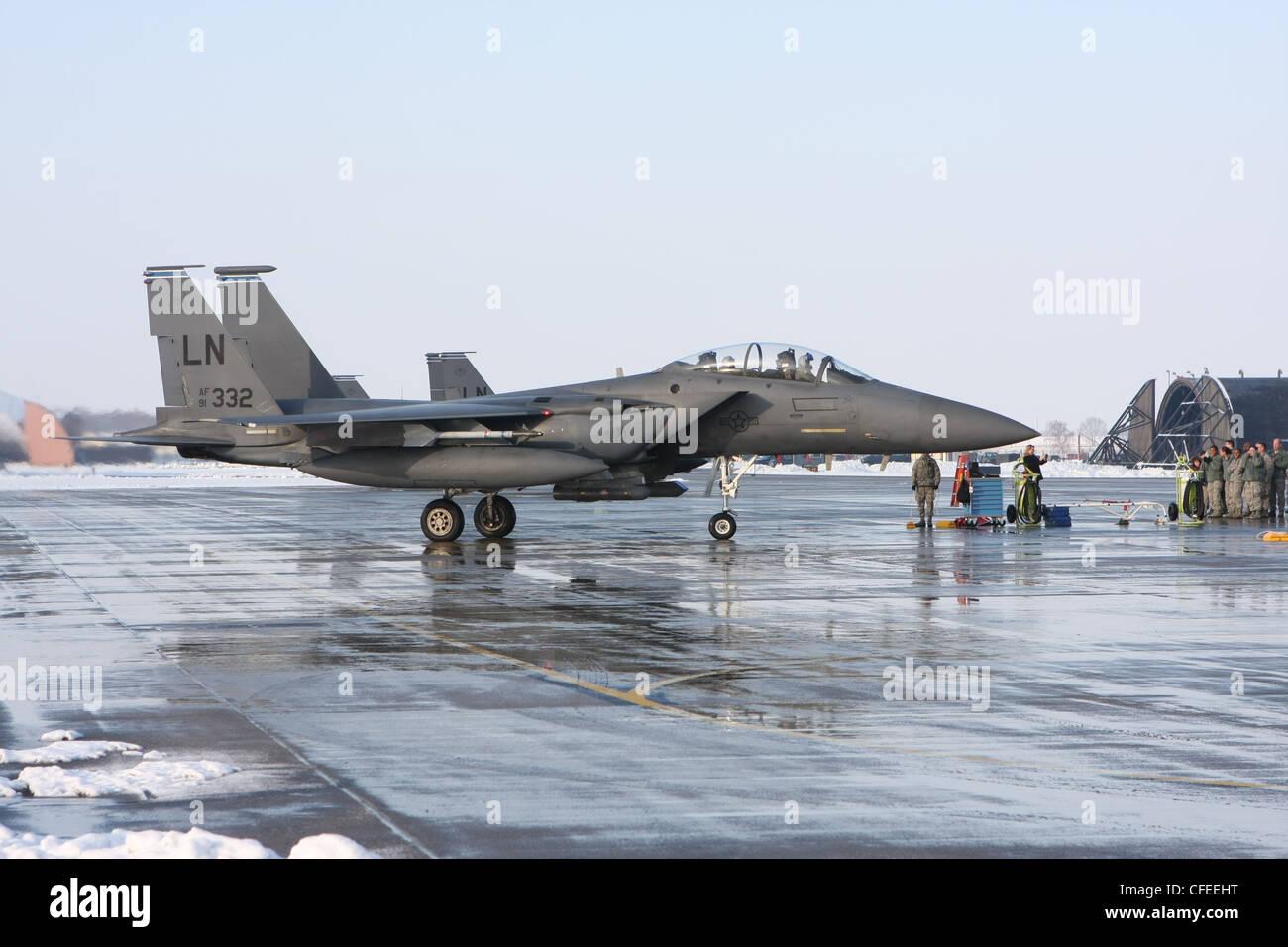 USAF F15E Eagle fighters at RAF Lakenheath - Stock Image