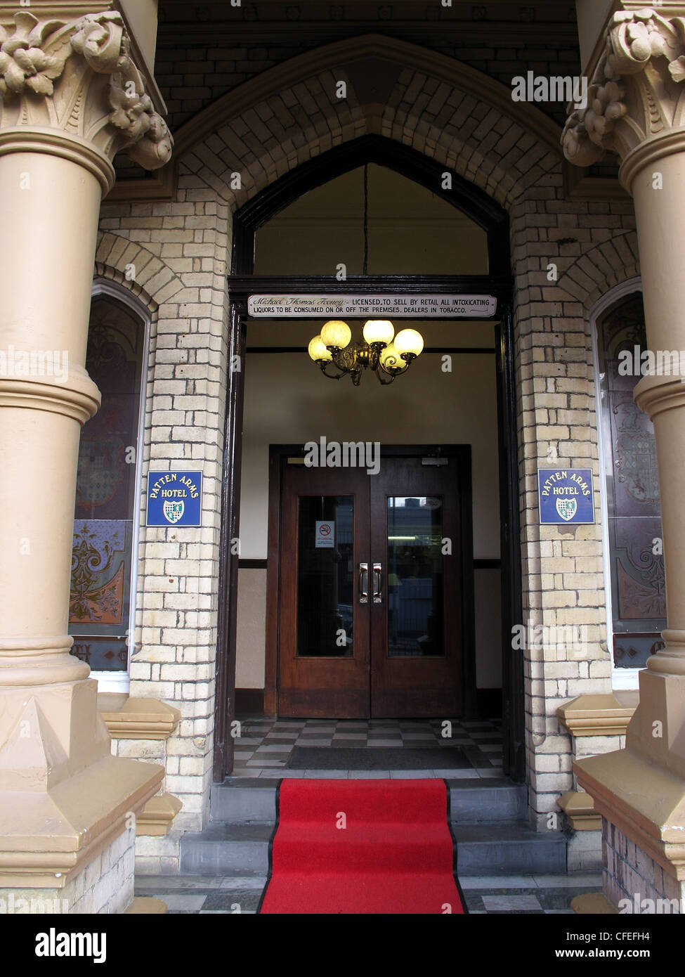 Entrance of the Patten Arms Hotel, Parker Street, Bank Quay, Warrington, Cheshire, England, UK - Stock Image
