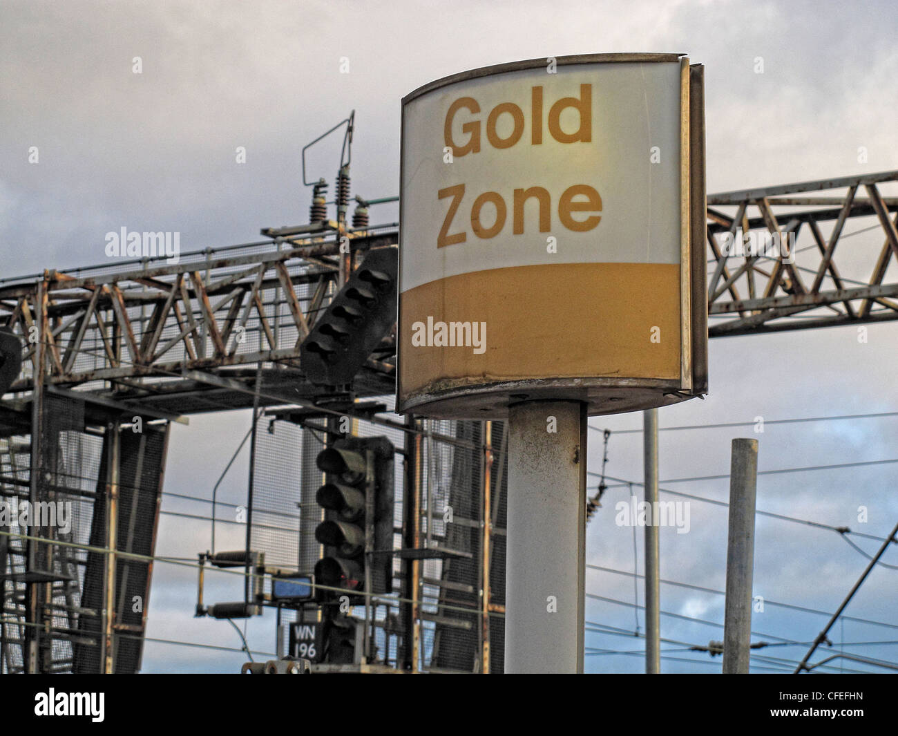 Gold Zone Virgin trains sign, Warrington Bank Quay, Parker St, Warrington, Cheshire , UK - Stock Image