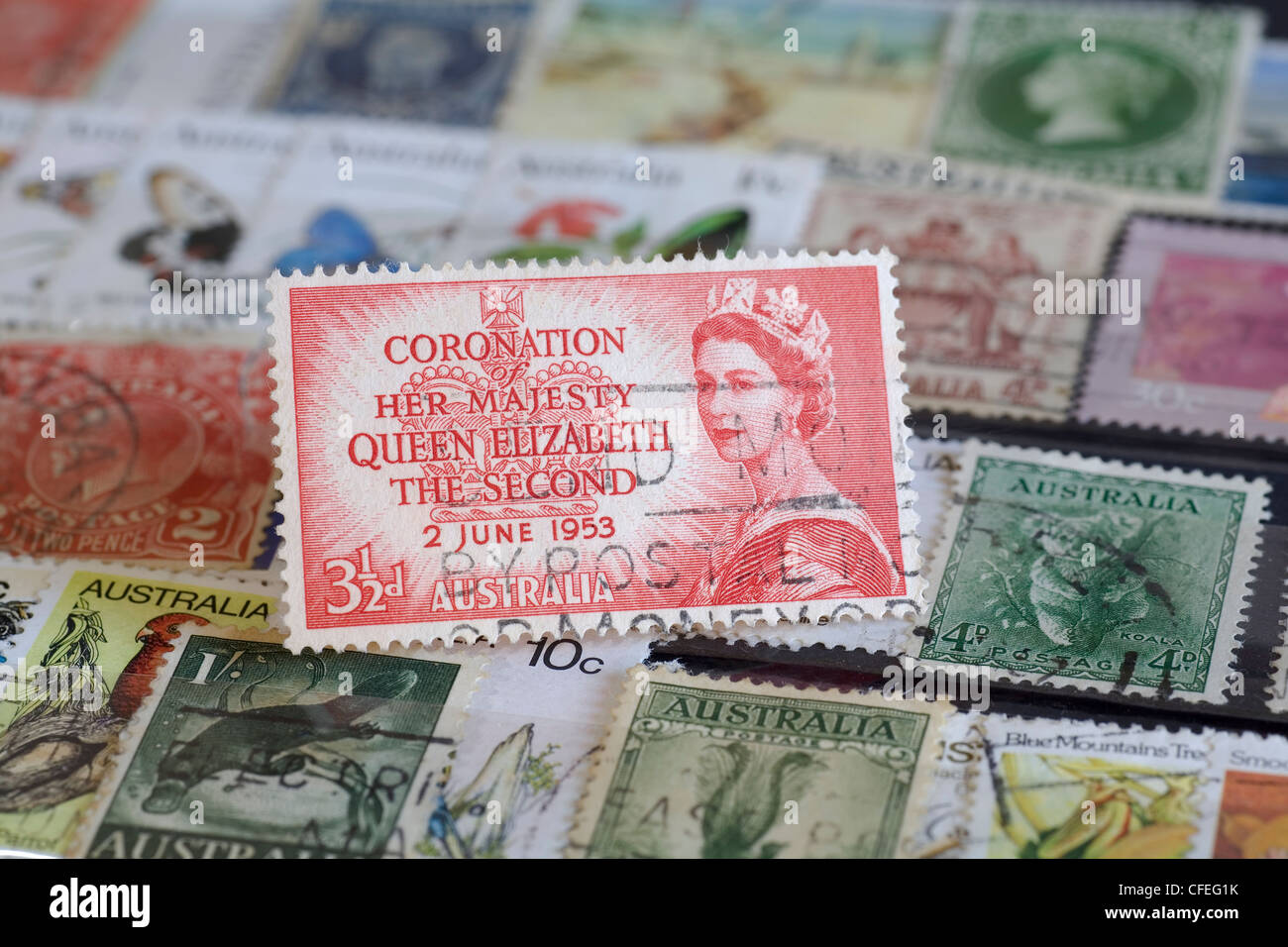 Australian postage stamp commemorating the June 2nd, 1953 Coronation of Her Majesty, Queen Elizabeth The Second. - Stock Image