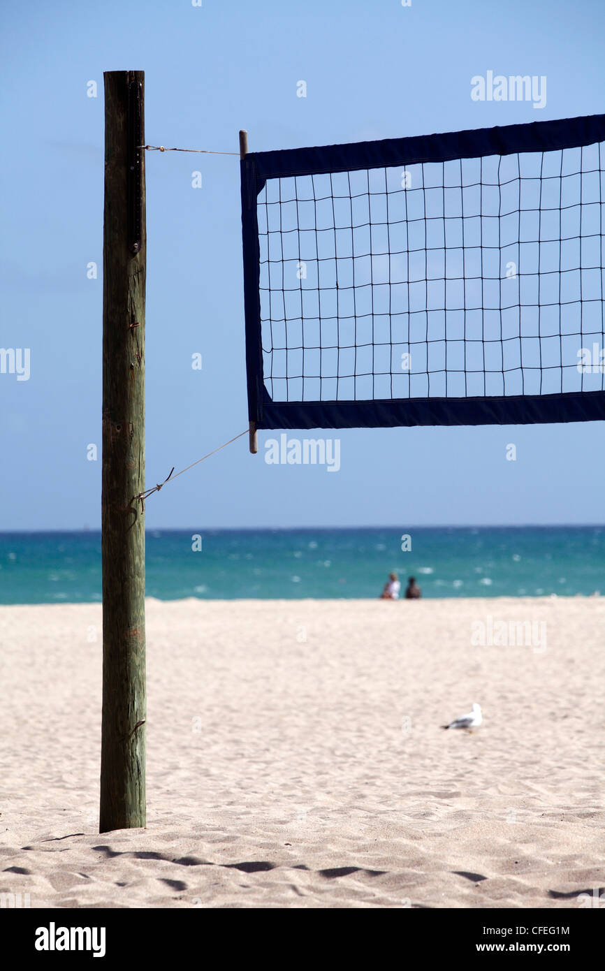 Volley ball net on the beach at Fort Lauderdale, Florida Stock Photo