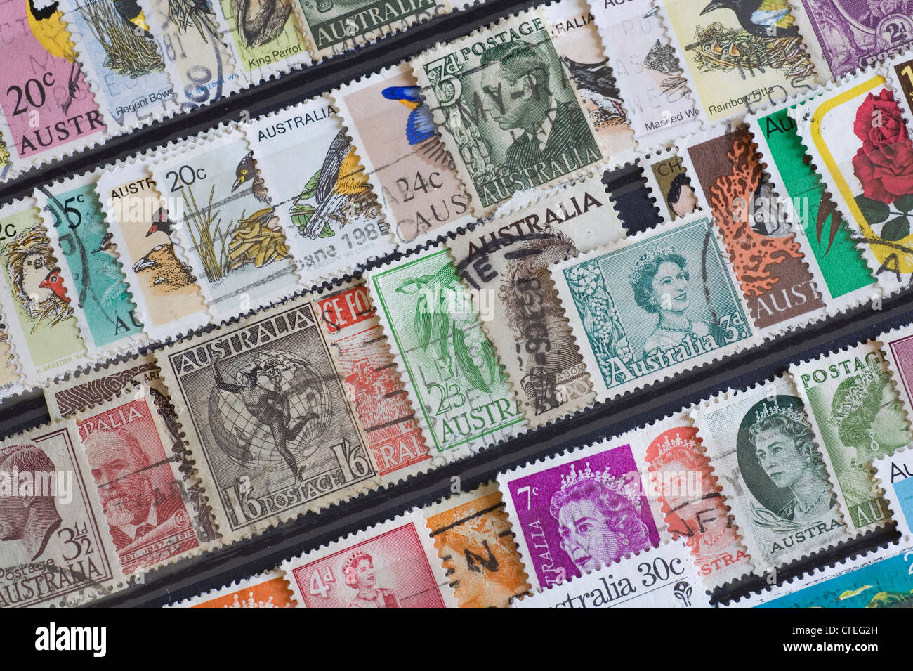 Australian postage stamps in a stamp album collection - Stock Image