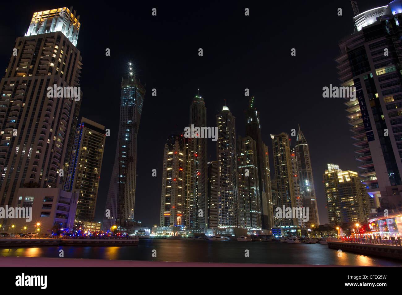 Dubai Marina skyline at night, Unite Arab Emirates, Middle East - Stock Image