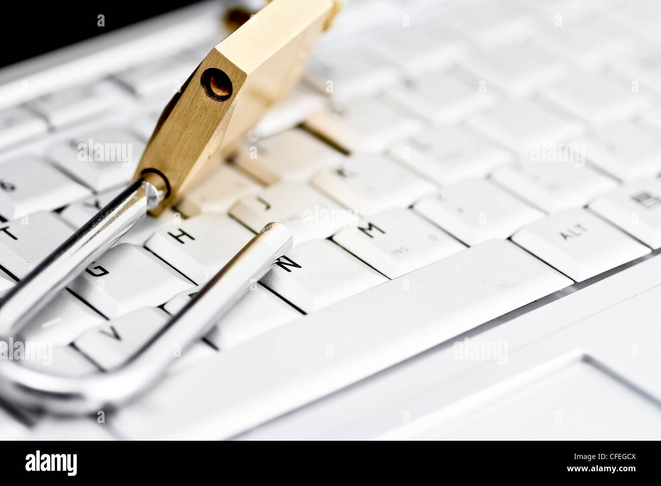 Brass padlock in unlocked position on top of computer keyboard - Stock Image