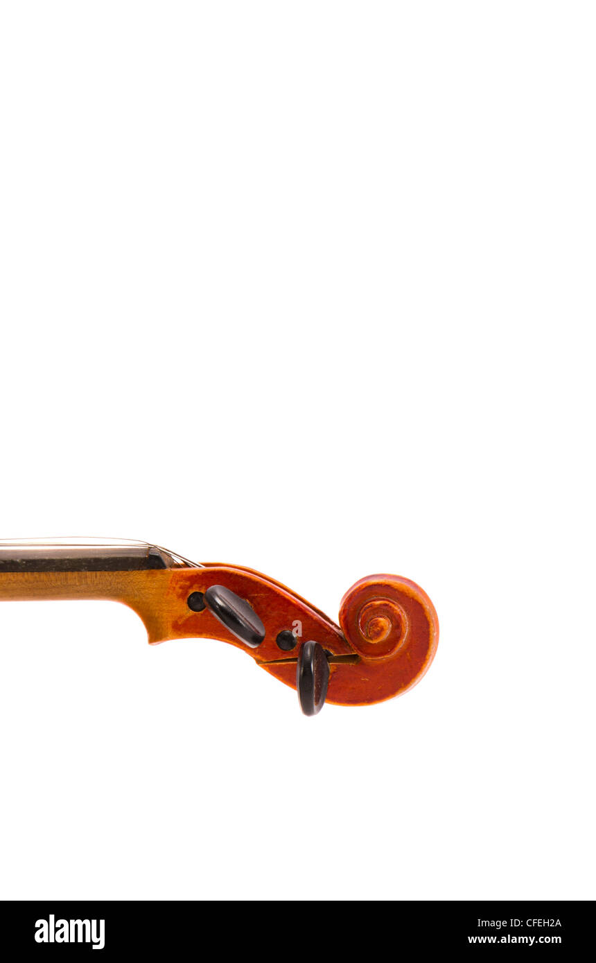 isolated on white and cracked vintage violin detail - Stock Image