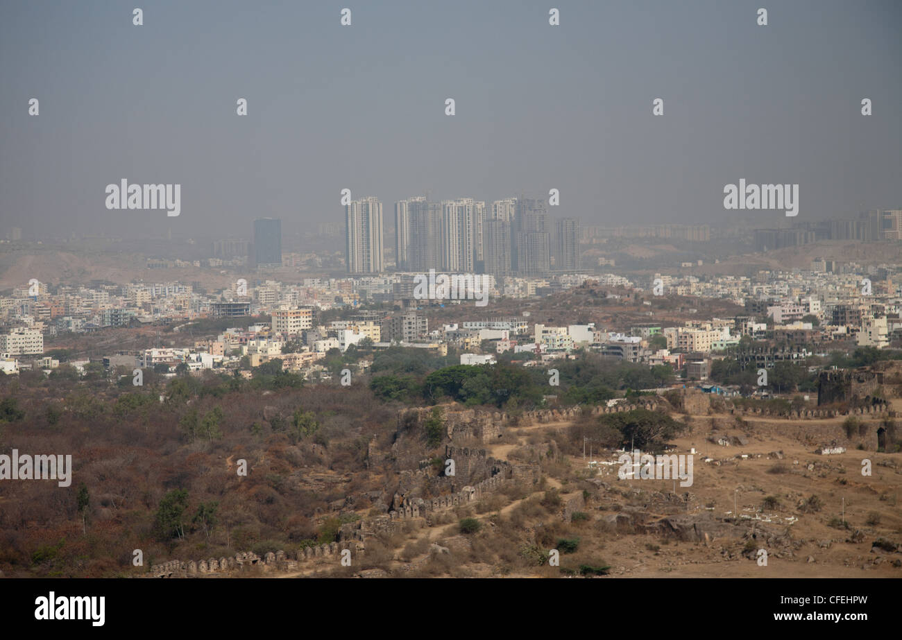 View from Golconda Fort in Hyderabad - Stock Image