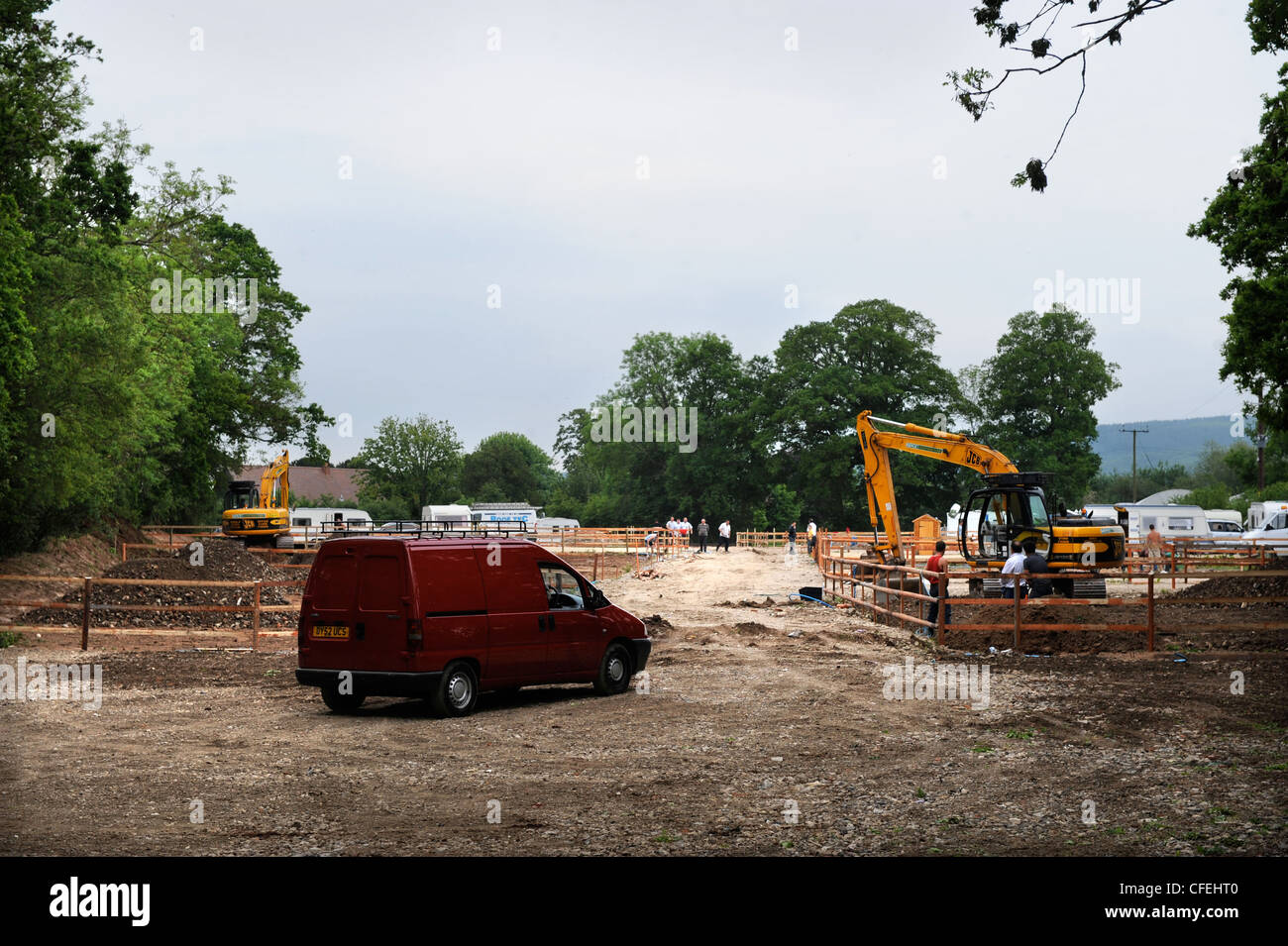 Building work at travellers caravan park site in Southend Lane, near Newent, Gloucestershire 25 May 2009 - After - Stock Image