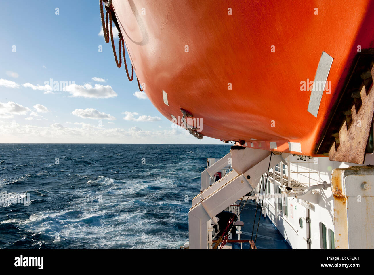 Lifeboat on a ship, the RMS St Helena traveling from St Helena in the South Atlantic Ocean to Cape Town South Africa - Stock Image