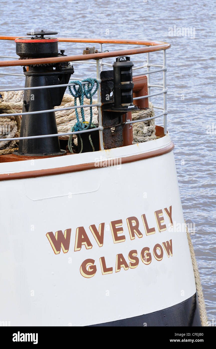 The stern of the famous paddle steamer Waverley moored for the winter at North Quay on the River Clyde, Glasgow, - Stock Image